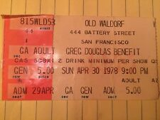 greg douglas benefit sun april 30 1978 old waldorf san francisco ticket stub