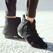 NIB FREE PEOPLE Decades Distressed Textured Suede Ankle Boot Fringe Black 7 1/2