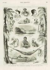 1873 ANTIQUE PRINT-Caraïbes CUBA Morro Castle Café Trieur de Santiago (196)