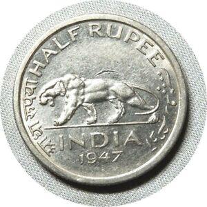 elf India British 1/2 Rupee 1947 (b)  George VI  Indian Tiger