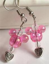 Silver Plated Pink Mickey Mouse Ears Earrings Disney Heart Pierced USA Seller