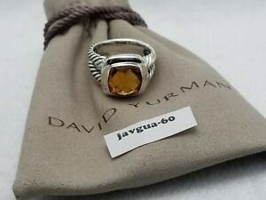 David Yurman Sterling Silver 11mm Albion Citrine Ring size 8