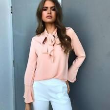 UK Women Ladies Pussy-bow Blouse Chiffon Shirt Top Long Sleeve OL Shirt T-shirt