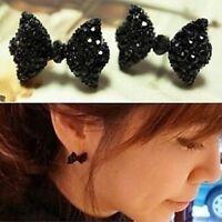1Pair Cute Black Rhinestone Crystal Bowknot Earrings Bow Tie Ear Stud Women Girl