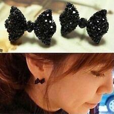 Lovely Black Bowknot Earrings Ear Stud Women Girl Jewelry Gift
