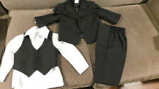 Infant Boy's 4-Piece Black Tuxedo Apparel Set • Jacket / Pants / Shirt / Vest