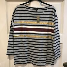 7cb133933 J Crew Sz Small Black Ivory Gold Foil Striped T Shirt Scoop Neck Pullover