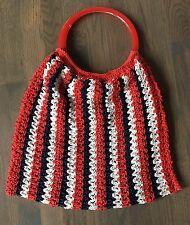 Vtg 70's RED White BLUE Patriotic Weave CROCHETED Plastic LUCITE Hand Bag Purse
