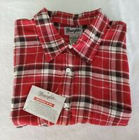 Wrangler Wrancher Mens 3XL Shirt Button Front Flannel L Sleeve Red Black Plaid