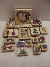 18 WOOD MOUNTED RUBBER STAMPS CHRISTMAS PSX HERO ARTS SKY KIDS STAMP LOT