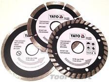 YATO Professional Diamond DISC Blade set 3 pcs 115 mm TURBO SEGMENTI TILE CUTTER
