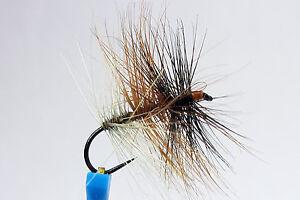 1x Mouche peche Sèche Tricolore Foncéé H14/H16 BARBLESS hook fly mosca fliegen