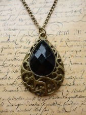 Vintage Bronze Black Pearl Filigree Pear Costume Jewellery Necklace + Gift Bag