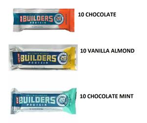 30 BUILDERS Protein Bars 10 Choc Mint, 10 Vanilla Almond 10 Chocolate   9/2020