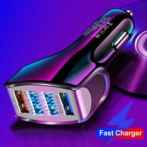 Fast Car Charger USB Cigarette Lighter Socket 4-Port Adapter For iPhone Samsung