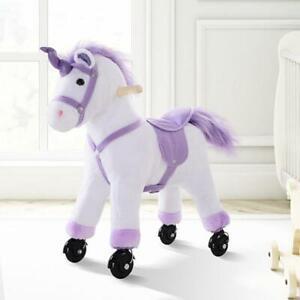 Kids Ride On Unicorn Girls Toy Horse Wheels Wooden Children Rocking Animal Gift