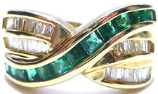 BIG EFFY BH EMERALD & DIAMOND 14K YELLOW GOLD WOMENS RING BAND SIZE 6.5