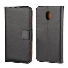 Samsung Galaxy J3 J330 (2017) Wallet Case Genuine Split Echt Leder Etui Schwarz