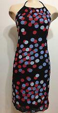 Vintage Tessuto Black Polka Dots Sexy Backless/slit Women Dress Size 8