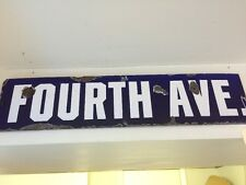 "Vintage Porcelain Enameled Street Metal Sign ""fourth Ave"" 22"" X 5"""