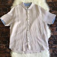 Report Collection Men's 100% Linen Beige Short-Sleeve Button Down Shirt Size XXL
