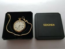 VINTAGE 1970  SEKONDA  21J GOLD PLATED SMALL  POCKET WATCH VGC  CHAIN BOX