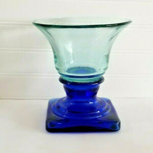 Vidrios San Miguel Recycled Glass Pedestal Cobalt Blue Candle Holder Spain