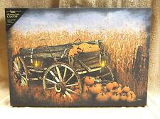 Harvest Fall Wagon Lighted Canvas Wall Decor Sign Pumpkins Field Farm