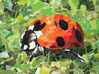 Ladybug - Original Collage Painting - (9 X 12 inch) by John Wallie