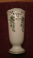 """Lenox Holiday 7"""" vase with gold trim, holly and cutouts around the top"""