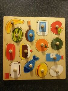 Jumbo Goula Colourful Food Wooden In and Out Puzzle (14 Pieces)