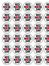 "30x Red Nose Day / Comic Relief 1.5"" PRE-CUT PREMIUM RICE PAPER Cake Toppers"