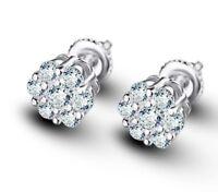 Men 14k White Gold Finish Round Diamond Flower Screw Back Stud Earrings