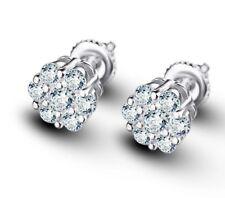 Diamond Flower Screw Back Stud Earrings Men 14k White Gold Finish Round