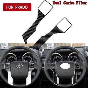 2x Carbon Fiber Steering Wheel Cover Trim For Toyota Land Cruiser Prado 2010-18