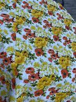 Flower Power Mod Orange & Yellow Vintage Bedspread NWT Montgomery Ward 1960s
