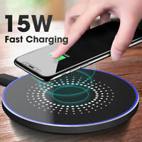 15W Qi Wireless Charger Charging Pad Mat For iPhone 8 X 8Plus XR XS Max Samsung