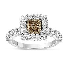 2.16 Carat Princess Cut Champagne Brown Diamond Engagement Ring 14K White Gold