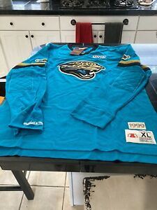 Mitchell & Ness JACKSONVILLE JAGUARS Throwback 100 TEAL Long Sleeve XL NWT