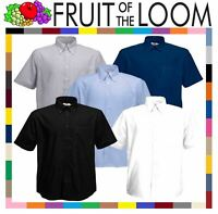 Fruit of the Loom Mens Classic Oxford Short Sleeve Smart Business Work Shirt New
