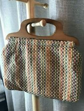 Woven Fabric Knitting Bag with Wooden Handles-Preowned