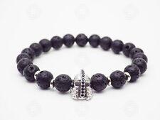 Mens Silver Helmet Bracelet Stone Beads Warrior Viking Armour Spartans Gift UK