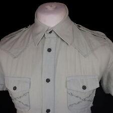 Diesel Men's No Pattern Short Sleeve Regular Collar Casual Shirts & Tops