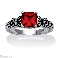 JULY BIRTH STONE RUBY ANTIQUED BUTTERFLY SCROLL STERLING SILVER RING SIZE 5 6 7