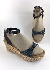 Minnetonka Black Leather PROSPECT Sandals Sz 8 Wedge Heel Slingback 71501 WOVEN