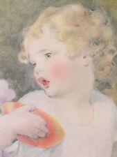 Rare*1930s*Little Miss Muffet*Orig Vintage Print*Pretty Girl*Framed*NurseryRhyme