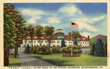 Onawa Lodge Heart Pocono Mountains Mountainhome Pennsylvania PA Linen Postcard