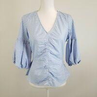 Parker Women's Blue/White Striped Top Peplum Hem Puff 3/4 Sleeves Cotton Size S