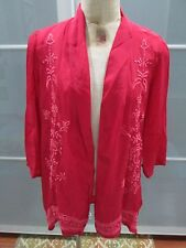 """Anthropologie Kyla Seo Embroidered """"Sophia"""" Open Front Rayon Cardigan Size S NWT"""