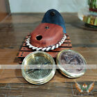 """Brass Reproduction 2.3"""" Australia Penny Poem Compass W/ Leather Case Gift Item"""